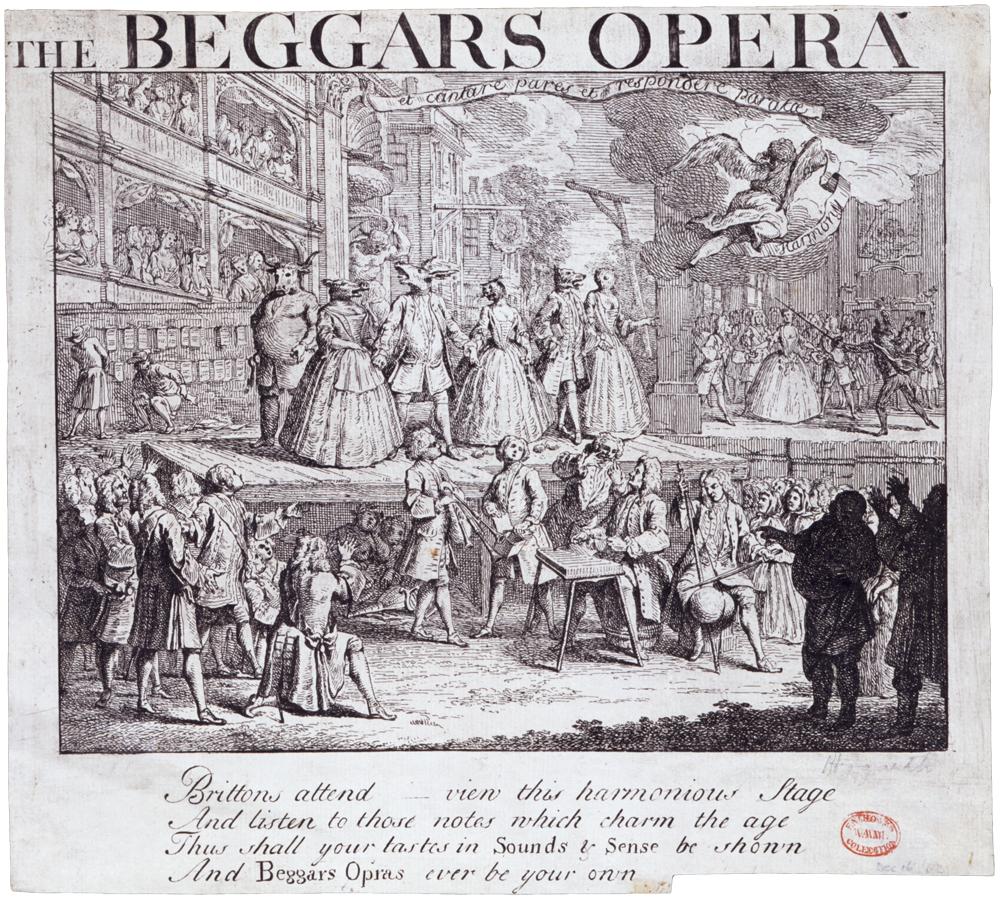 The Beggar's Opera opnår ikke blot enorm succes med sine satiriske stikpiller til den italienske opera, men bliver også selv genstand for parodier; her er en teatertrup trukket i dyremaskerne under åben himmel. Tegning af William Hogarth fra 1728.