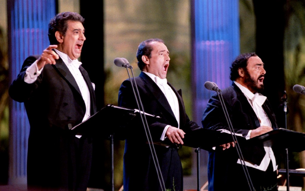 From left: Placido Domingo, Jose Carreras and Luciano Pavarotti perform July 16 at the Encore of the..